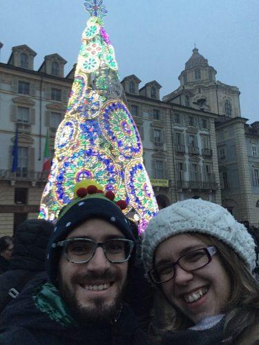 Insieme al mio amico Carlo sotto l'Albero di Natale di Piazza Castello