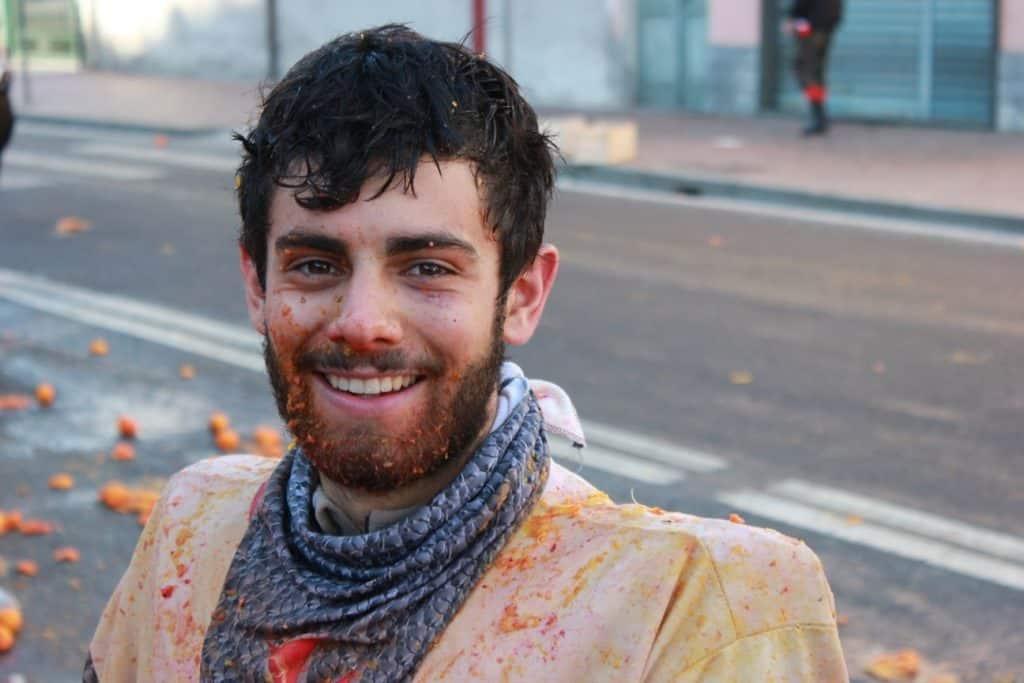 Marco Lana dopo la battaglia delle arance